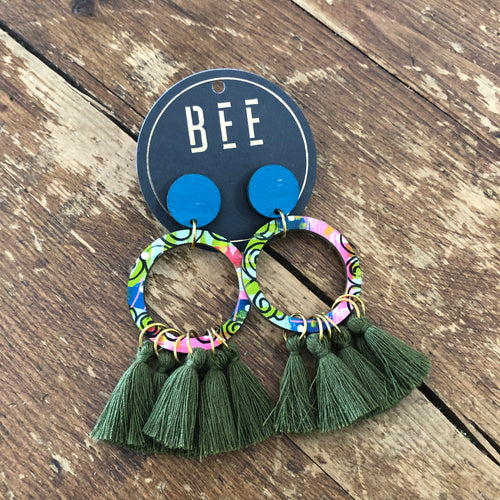 BEE Georgie Drop Earrings - Olive Tassels