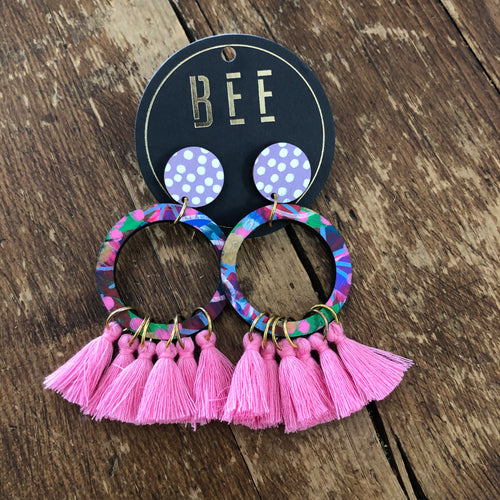 BEE Georgie Drop Earrings - Pink Tassels