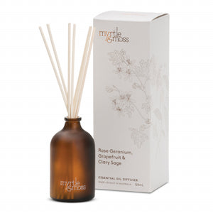ESSENTIAL OIL DIFFUSER ROSE GERANIUM, GRAPEFRUIT & CLARY SAGE