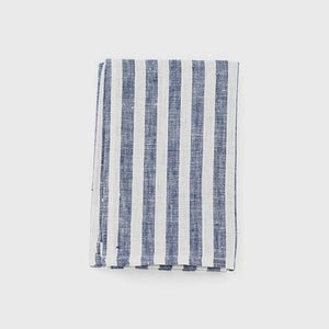 Linen Kitchen Cloth Navy Wide Stripe