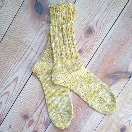 Linen Cotton Mix Socks Yellow