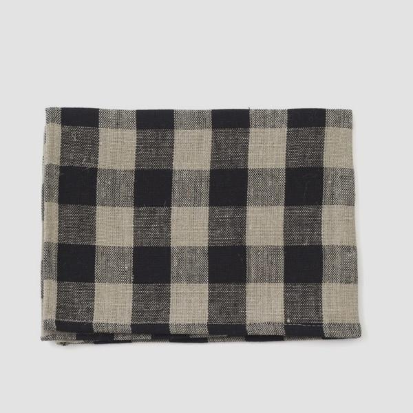 Thick Linen Kitchen Cloth Black Natural Check