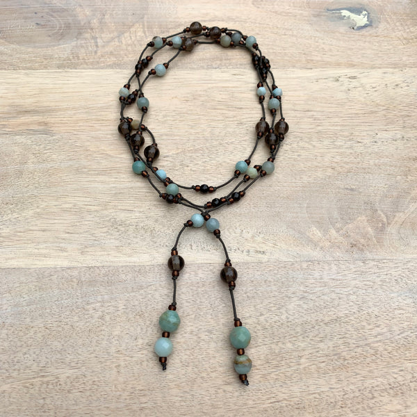 Amazonite Gemstone, Chocolate Moonstone Gemstone Lariat Necklace