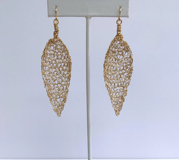 "Gold Wire Crochet Earrings ""Gold Leaf"""