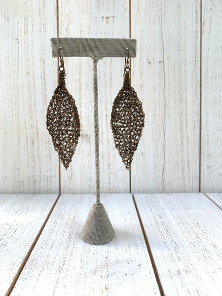 "Bronze Wire Crochet Earrings ""Bronze Leaf"""