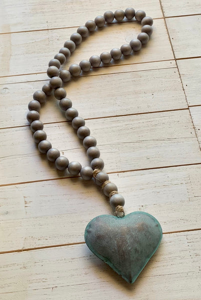 Natural Gray Decor Bead Garland with Rustic Tin Puffy Heart