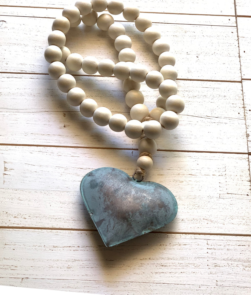 Natural White Decor Bead Garland with Rustic Aqua Tin Puffy Heart