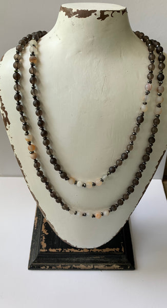 """Sorrel"" Matte Smoky Quartz, Druzy Agate, Hematite Gemstone, Dark Brown Knotted Cord Multi-Strand Necklace/Bracelet"