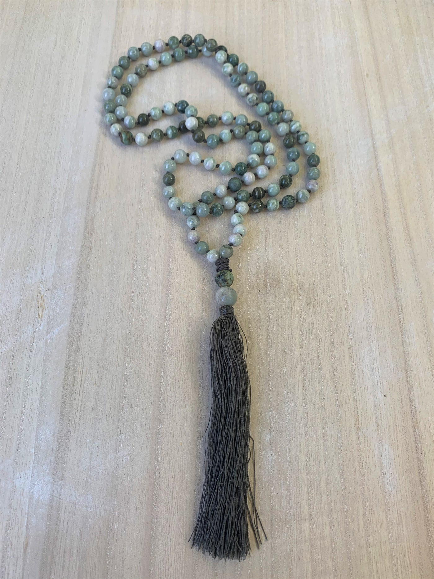 Burma Jade, Matte African Turquoise Knotted Mala Necklace