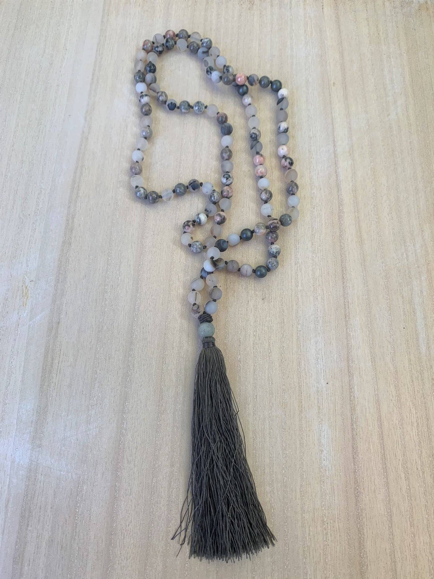 Montana Flower Agate Gemstone Mala Necklace