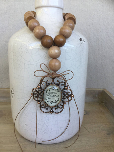 Grateful, Thankful, Blessed, Fall Home Decor Beads Wood Bead Vase Drape, Shabby Chic, Farmhouse Decor