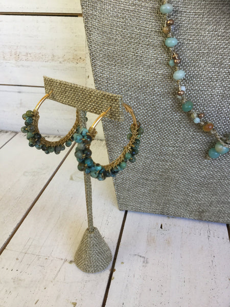 African Turquoise Gemstone Hoop Earrings