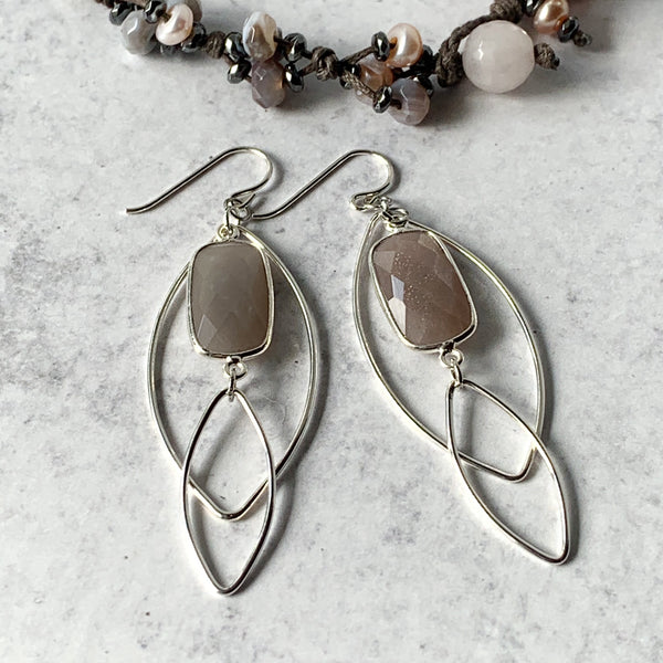 Swiss Chocolate Moonstone Silver Drop Earrings