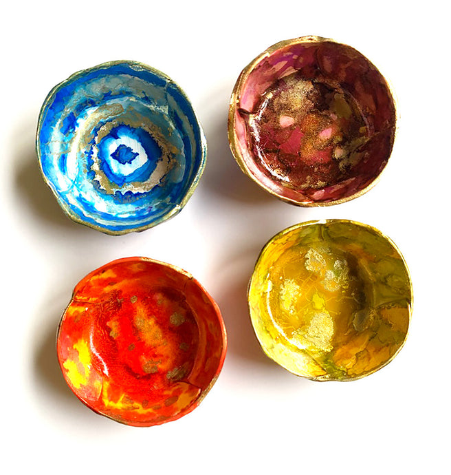 New In The Shop!  Ring Dishes Hand Painted with Alcohol Inks