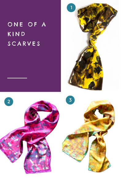 One of a kind gift - hand painted scarves