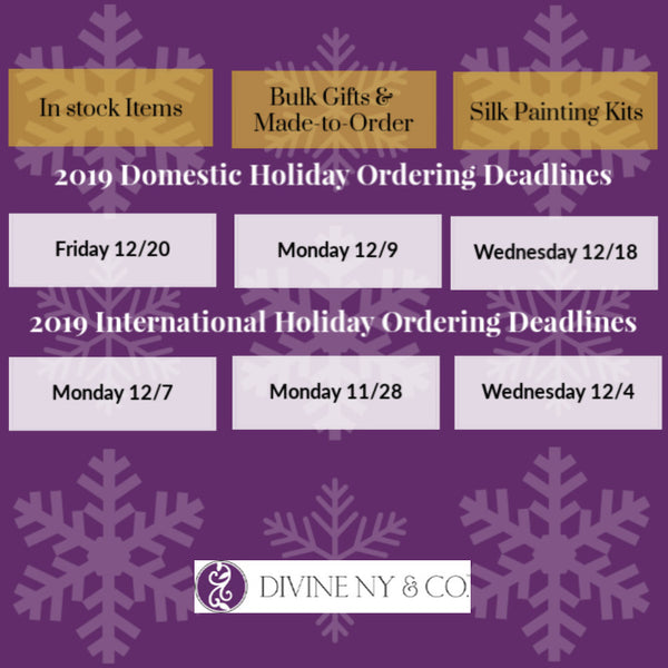 As you plan your gift giving needs, check out our 2019 holiday ordering schedule! | DivineNY.com