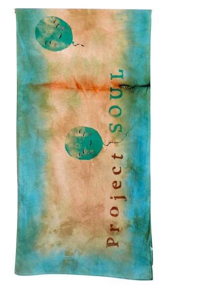 Portfolio - example of block print on hand dyed scarf