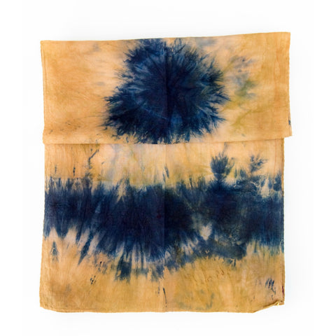 Example of Shibori hand dyed fabric using a tie dye technique