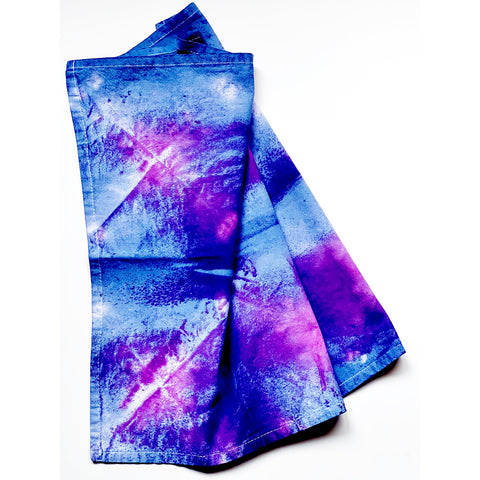 Example of shibori hand dyed technique using clamping