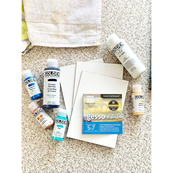 Paint pouring supplies, gesso board and medium