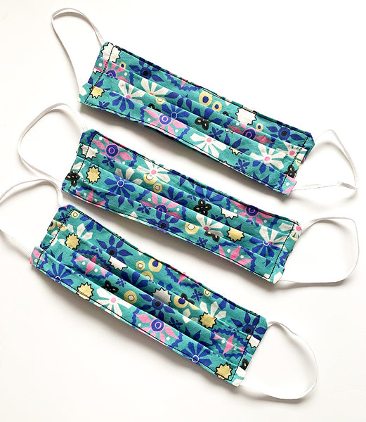 Cloth Face Mask in Blue Floral Print | DivineNY.com
