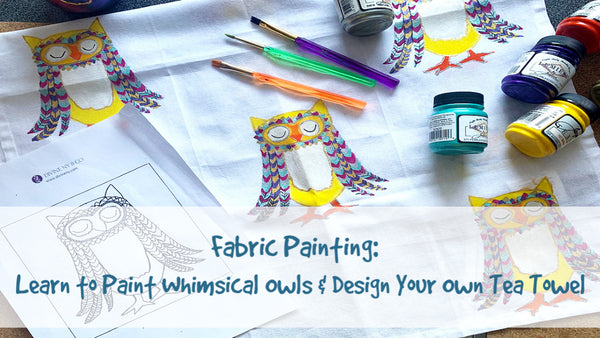 Fabric Painting - Learn how to paint whimsical owls on a tea towel | DivineNY.com