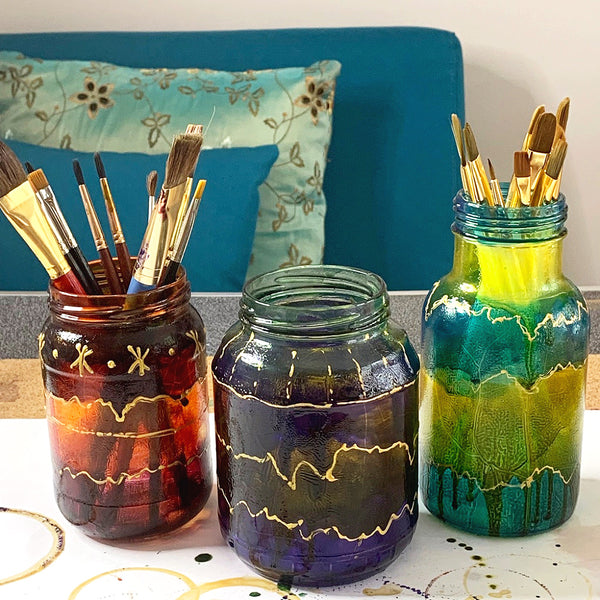 Upcycled glass painted jars using Pebeo Vitrail Glass Paints