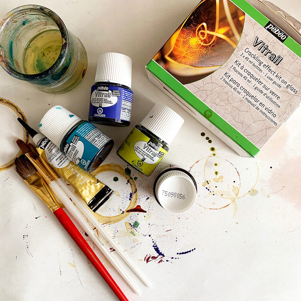 Pebeo Vitrail Glass Paints and Pebeo Vitrail Crackling Effect Kit