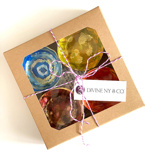 Our new hand painted ring dish sets come boxed as a set of 4, ready for gift-giving! | DivineNY.com