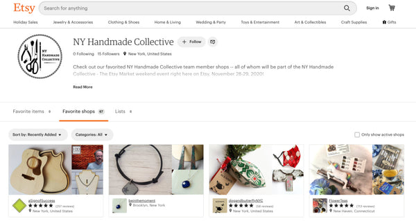 New York Handmade Collective Team Page on Etsy