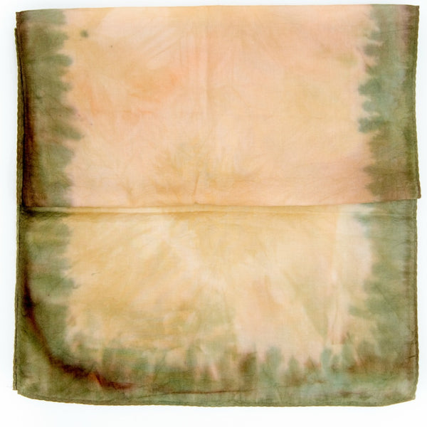 Portfolio - hand dyed cotton scarf in olive green and tan