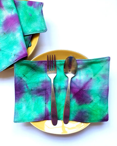 Green and purple Shibori Napkin Sets | DivineNY.com