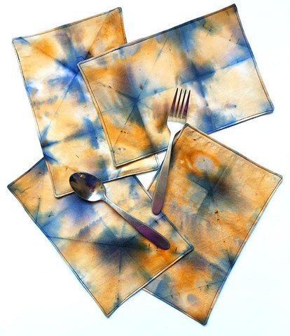 Blue and orange Shibori Napkin sets | DivineNY.com