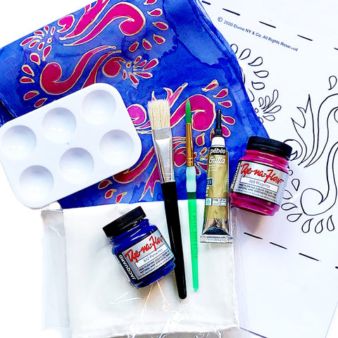 Learn silk painting from home with one of our silk painting kits.