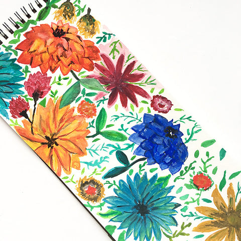 Watercolor flower sketches