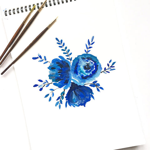 Watercolor Sketches - Indigo Flowers