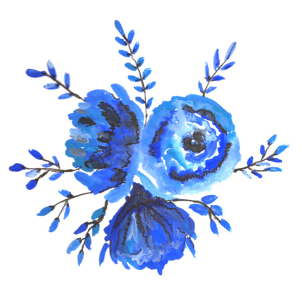 Hand painted with watercolor blue cluster of flowers | DivineNY.com