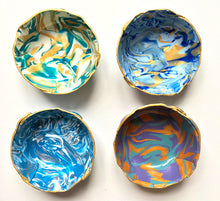 Load image into Gallery viewer, Polymer Clay Marbled Ring Dish, Set of 4, Blue