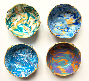 Polymer Clay Marbled Ring Dish, Set of 4, Blue