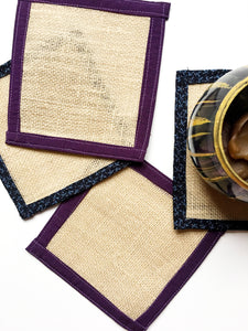 Burlap Plant Coasters for Drinks, Candles and Plants