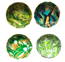 Load image into Gallery viewer, Polymer Clay Marbled Ring Dish, Set of 4, Green