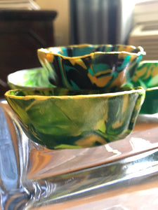 Polymer Clay Marbled Ring Dish, Set of 4, Green