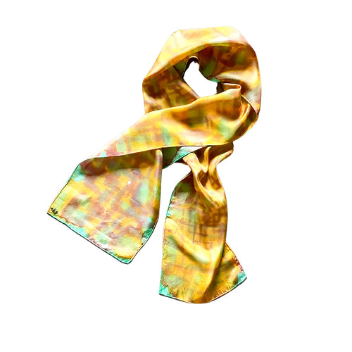 Hand Painted Silk Scarf Golden Honey