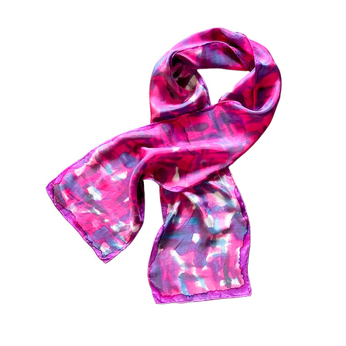 Hand Painted Silk Scarf in Pink Abstract Print
