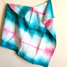 Load image into Gallery viewer, Hand Dyed Flour Sack Shibori Tea Towel in Teal and Pink