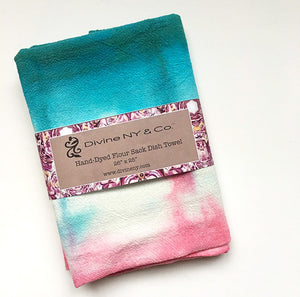 Hand Dyed Flour Sack Shibori Tea Towel in Teal and Pink