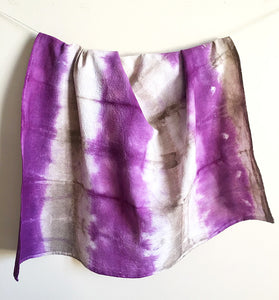 Hand Dyed Flour Sack Shibori Tea Towel in Purple and Tan