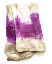 Load image into Gallery viewer, Hand Dyed Flour Sack Shibori Tea Towel in Purple and Tan