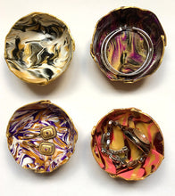 Load image into Gallery viewer, Polymer Clay Marbled Ring Dish, Set of 4, Multi-colored