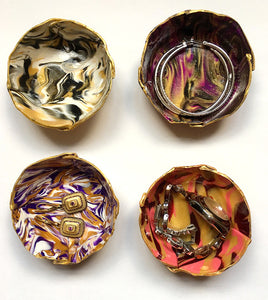 Polymer Clay Marbled Ring Dish, Set of 4, Multi-colored